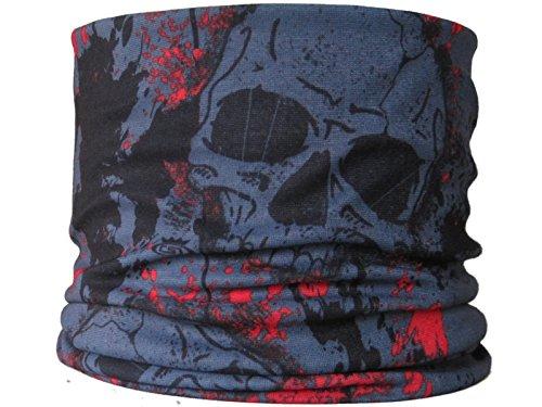Multifunctional Headwear Bandeau multifonction Motif têtes de mort Gris/rouge