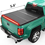 oEdRo Hard Folding Tonneau Cover with Built-in Light Strip, Trifold Hardtop Truck Bed Cover Compatible with 2014-2018 Chevy Silverado/GMC Sierra 1500, Fleetside 5.8ft Bed