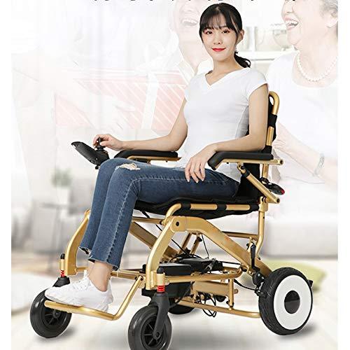 Faltbarer Rollstuhl Sicher Und Bequem Elektrischer Rollstuhl Faltbar Leicht 360 ° -Controller Mit Bluetooth-Funktion FM Foldawheel Elektrorollstuhl Verschleißfester Reifen,10.4AH