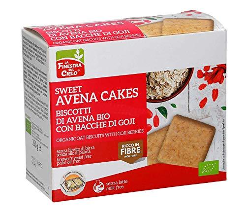 La Finestra Sul Cielo Sweet Avena Cakes Biscotti di Avena con Bacche Digoji Bio - 250 gr (Confezione da 6 pezzi)