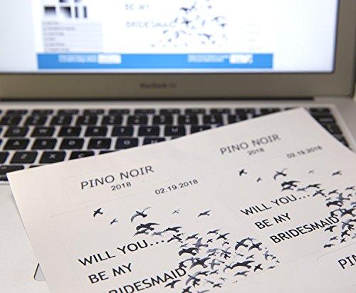 Wine Bottle Labels - Make Your Own Custom Printable Wine Labels, Waterproof, Super Glossy, 10 Sheets, 40 Blank Labels, Inkjet and Laser Printer Compatible - Includes Custom Online Design Software