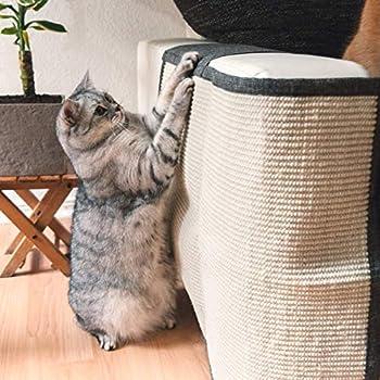 Navaris Tapis griffoir Chat - Protection côté Droit canapé Meuble Sol Mur - Tapis en sisal et Lin 50 x 70 cm adapté pour Chaton Chien