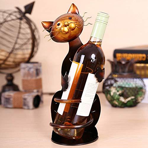 Voupuoda Gato sostenedor del Vino en Forma de Estante del Vino del Metal Escultura Práctico de decoración Escultura de decoración del hogar Interior Manualidades