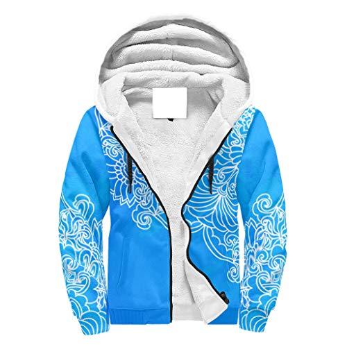 Lind88 - Sudadera con capucha para hombre con forro polar y estampado de mandala azul para estudiantes, con capucha, cómodo uniforme para regalo de Boss, color blanco