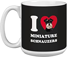 Tree Free Greetings XM29088 I Heart Miniature Schnauzers Artful Jumbo Mug, 20-Ounce, Grey/White