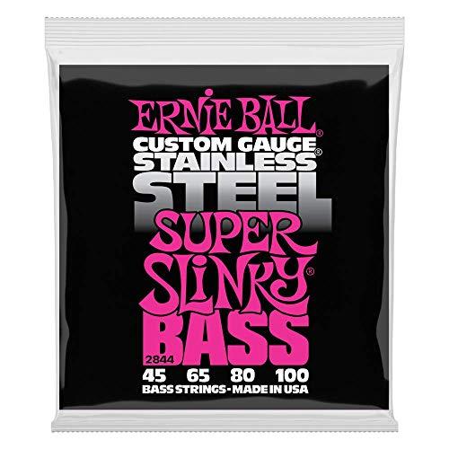 Cuerdas eléctricas para bajo Ernie Ball Super Slinky de acero inoxidable - calibre 45-100