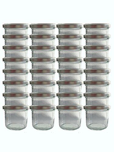 hocz Sturzgläser Set | Menge 50 Stück | Füllmenge 125 ml | inkl. Schraubdeckel Deckelfarbe | Marmeladengläser Einmachgläser Einweckgläser (Silber, 50 Stück)