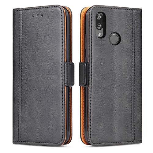 Bozon Huawei P Smart 2019 Hülle, Leder Tasche Handyhülle für Huawei P Smart (2019) Schutzhülle Flip Wallet mit Ständer & Kartenfächer/Magnetverschluss (Schwarz)