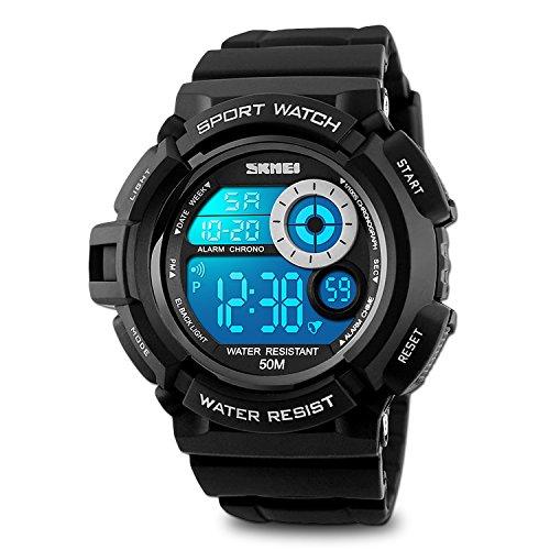 Reloj de pulsera deportivo y digital para hombre, impermeable, LED de 7 colores, cronómetro, retroiluminación, blanco