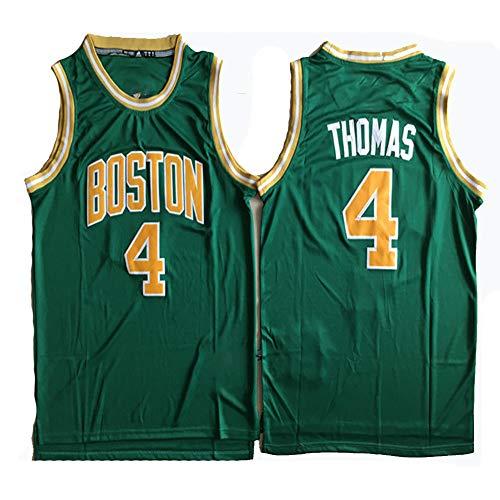 XIAOHAI NBA Maglie Uomo, Boston Celtics # 4 Isaiah Thomas Traspirante Wear Resistant Ricamato Mesh Pallacanestro Swingman Pullover di Sport T-Shirt,S