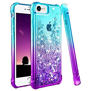 Ruky iPhone 6 6S 7 8 Case iPhone SE 2020 Case Gradient Quicksand Series Glitter Bling Flowing Liquid Floating TPU Bumper Cushion Protective Case for iPhone 6/6s/7/8/SE 2020 4.7 inches  Teal Purple