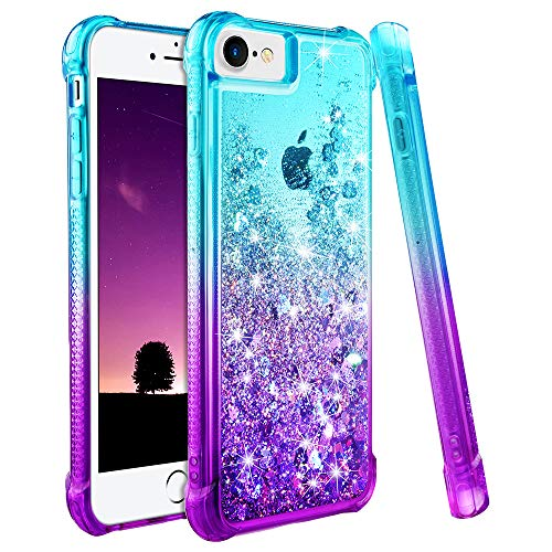 Ruky iPhone 6 6S 7 8 Case, iPhone SE 2020 Case, Gradient Quicksand Series Glitter Bling Flowing Liquid Floating TPU Bumper Cushion Protective Case for iPhone 6 6s 7 8 SE 2020 4.7 inches (Teal Purple)