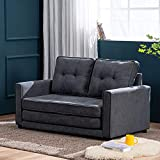 MELLCOM Modern Sofa Bed Mid-Century Upholstered Fabric Loveseat Sofa Folding Recliner Lounge Futon Couch for Living Room with 2 Throw Cushions,Grey
