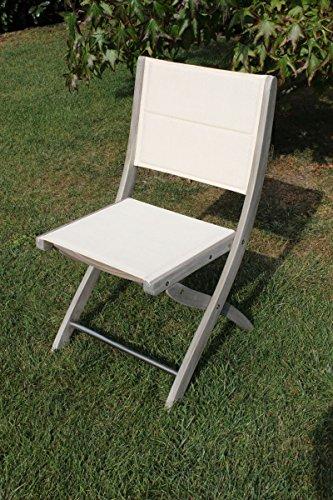 Chaise d'extérieur de jardin sans accoudoirs gris en bois d'acacia massif