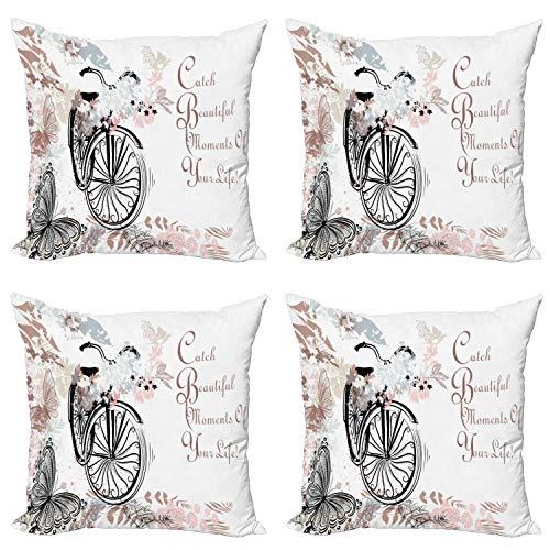 ABAKUHAUS Primavera Set de 4 Fundas para Cojín, Suave Paleta de Color de la Bici, Estampado Digital en Ambos Lados y Cremallera, 40 cm x 40 cm, Multicolor