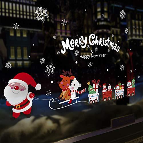 ZWXDMY Navideño Etiqueta De La Ventana,El Trineo De Santa Claus Snowflake Inglés Comillas,Impermeable Extraíble, Tienda De Cristal De La Ventana Home Art Decoración,Vacaciones Póster Mural