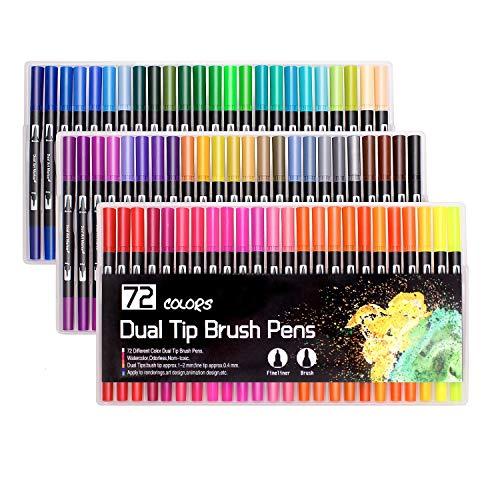 72 colori pennarelli a doppia punta , pennarelli , pennarelli da colorare per adulti e bambini Dipingere da colorare, disegnare, disegnare (nero)