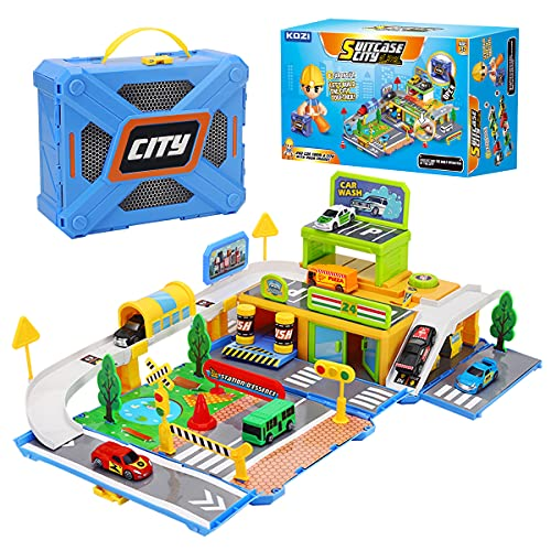BekoFeeno Race Track Car Toys Set for 3 4 5 6 7 8 Year Old Boys Girls, Urban Transport Themes Puzzle Car Tracks Playsets Educational Toys for Toddlers Toys Age 3+ Gift for Kids