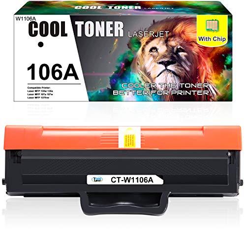 (Mit Chip) Cool Toner Kompatibel für HP W1106A 106A Tonerkartusche Replacement für HP Laser MFP 135a 135w 107a 107w 137fnw 135wg 135ag 107r 137fwg HP Laser 135 107 137, 1000 Seiten, Schwarz, 1Pack
