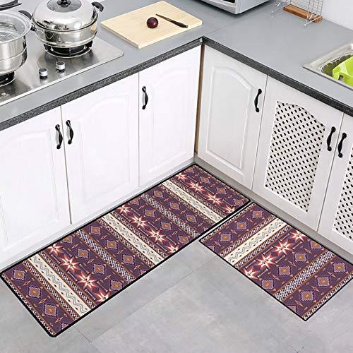 THDFV Küchenppiche Set,2 Stück Küchenmatten Und Teppiche Runner Set, rutschfest,Gummiunterricht Haltable Bodenmatte Fußmatte, Maschinenwaschbar (40 * 60 cm+40 * 120cm/50 * 80+50 E-40X60/120cm