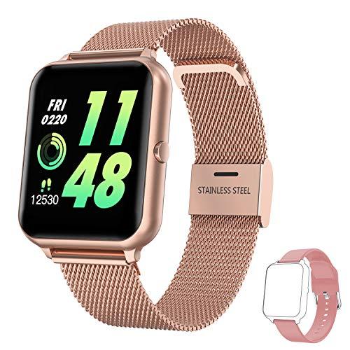 Smartwatch Damen Herren, HopoFit Fitness Tracker 1.4 Zoll Touchscreen Smart Watch mit Pulsuhr Schlafmonitor Stoppuhr Schrittzähler Uhr Wasserdicht Fitness Armband für Android iOS