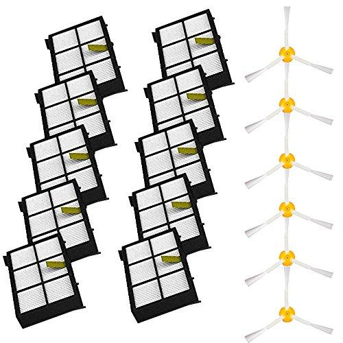 Escovas laterais e filtros de substituição da VacuumPal para iRobot Roomba 800 900 Series 805 860 870 871 880 890 960 980 peças robóticas a vácuo - Inclui: 10 filtros, 6 pincéis laterais armados - 3