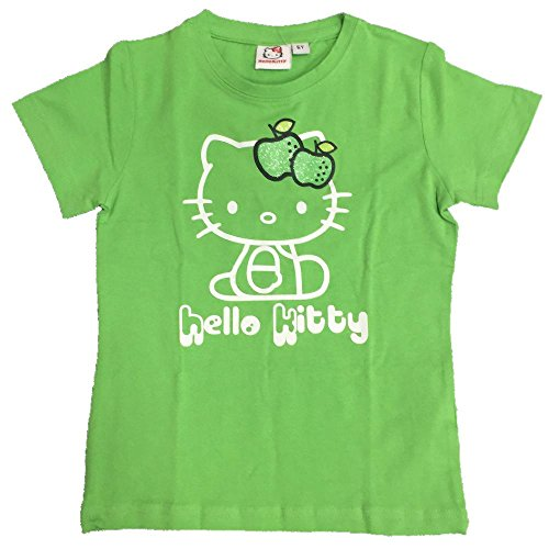 T-Shirt Bimba Hello Kitty Mela Glitter, Maglietta Maniche Corte Bambina *06522 - Verde 8A