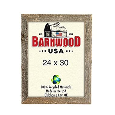 BarnwoodUSA Rustic 24 by 30 Inch Wooden Picture Frame with 1 5/8 Inch Wide Molding - 100% Reclaimed Wood, Weathered Gray
