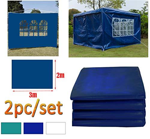 DayPlus Gartenpavillon Seitenteile 2 Stück, 3m x 2m Pavillon Seitenwand - 1 Stück mit Fenster, 1 Stück ohne Fenster Seitenteile für 3m x 3m Pavillon und 3m x 6m Pavillon, blau
