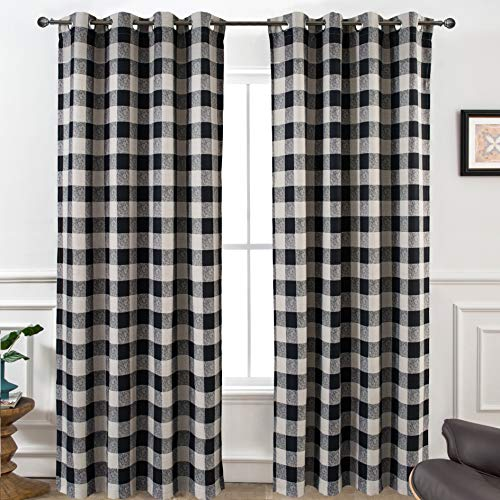DriftAway Buffalo Checker Pattern Linen Blend Lined Thermal Insulated Blackout and Room Darkening Grommet Window Curtains Printed Plaid 2 Panels 52 Inch by 96 Inch Black
