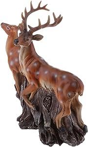 FLAMEER Modello Realistico Animale Statue Figure Ornamento Decorazione Halloween Festa Natale Resina - Cervo Sika Ancora