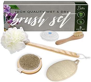 5-Piece Better Bathe Horse Hair Dry Brushing Body Brush Set