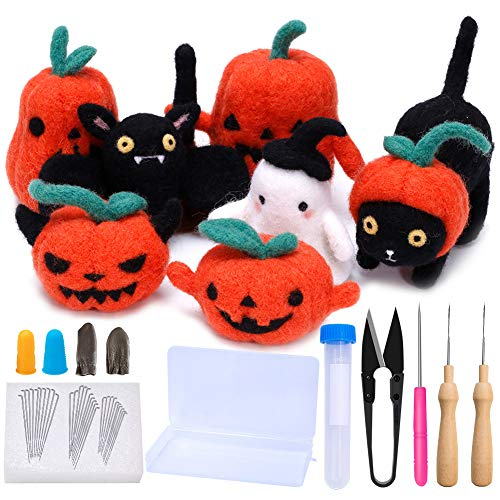 Halloween-naaldviltset voor beginners, naaldviltstarterset met 7 foto-instructies, make-4 pompkin, black cat, batt en Halloween ghost, viltnaalden, DIY ambachtelijke projecten Halloween pop kamband fijn