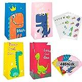 48 piezas Bolsa de Papel Dinosaurio,Bolsa de Regalo Cumpleaños,Bolsa de...