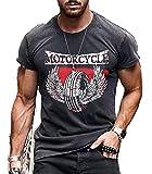 Camiseta Retro de Aceite de Motor para Hombre, Camisetas de Manga Corta con Cuello Redondo y Estampado de Letras de Motocicleta
