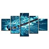 LJFYXZ Decoración De Arte De Pared Imprime 5 Paneles Pintura casera Guitarra de Instrumentos Musicales Cuadros Decorativos Arte Abstracto Imprimir Cartel (sin Marco) (Color : A, Tamaño : 80x150cm)