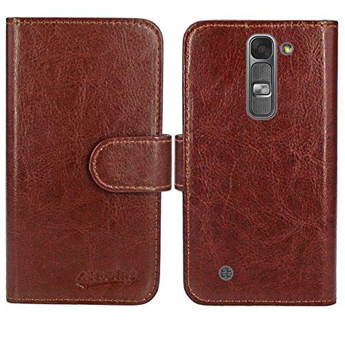 LG Magna / LG G4C Handy Tasche, FoneExpert® Wallet Hülle Flip Cover Hüllen Etui Ledertasche Lederhülle Premium Schutzhülle für LG Magna / LG G4C (Wallet Braun)