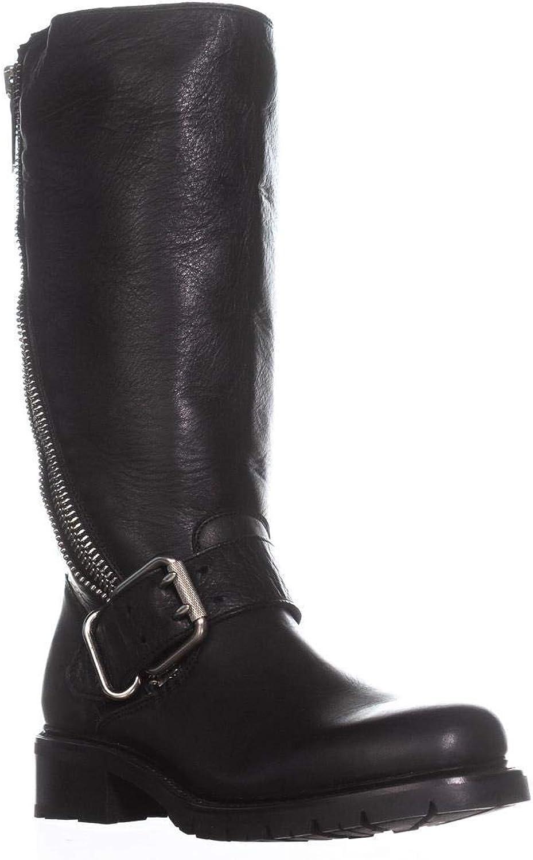 FRYE Woherren Samantha Zip Tall Stiefel Round Toe schwarz 7 M