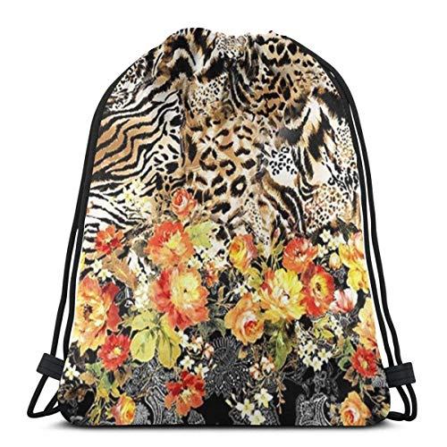 LREFON Bolsas con cordón para gimnasio, mochila, mochila con flores de tigre, bolsa para almacenamiento deportivo, organizador de zapatos, baloncesto, compras para estudiantes