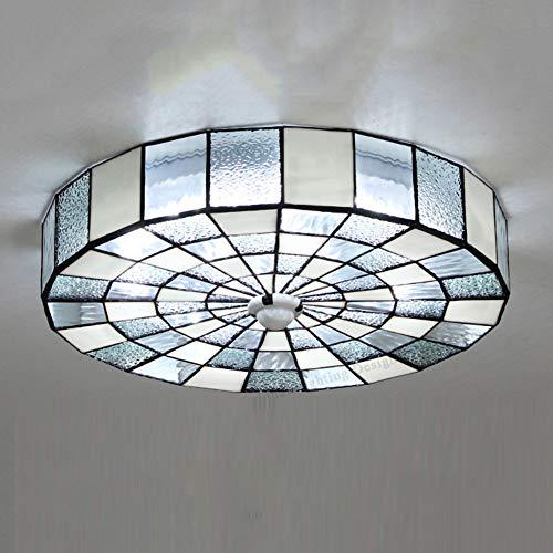 LED Estilo tiffany Lámpara de techo moderna, Simple Decoración Iluminación de techo Accesorio de Superficie montada Plafón Blanco cortina 36W-luz blanca D:50cm*T:10cm