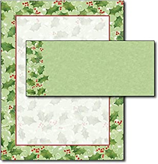 Jolly Holly Letterhead & Envelopes - 40 Sets