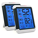 ThermoPro TP55 Hygromètre Numérique Thermomètre Intérieur Indicateur D'humidité avec Grand Écran Tactile et Rétroéclairage Jauges de Température et D'humidité, 2 Pièces