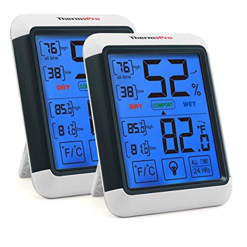 ThermoPro TP55 digitales Thermo-Hygrometer Innen Thermometer Hygrometer Temperatur und Luftfeuchtigkeitmessgerät mit Raumklima-Indikator 2er Set für Raumklimakontrolle Raumluftüerwachtung