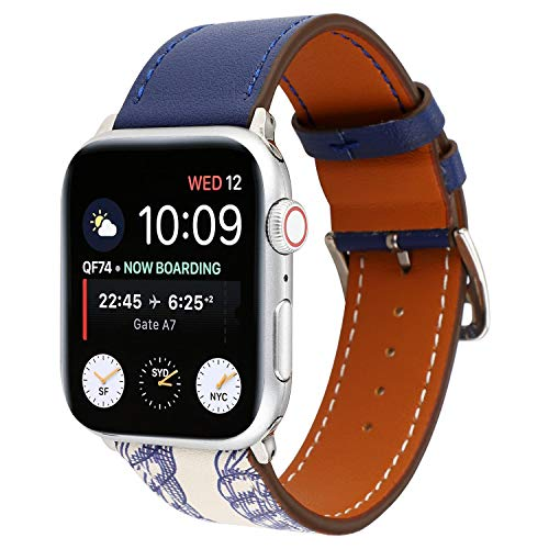 XZZTX Compatibel met Apple Watch Band 38mm 40mm 42mm 44mm, Lederen vervangende riem Polsband met Secure Metal Buckle voor iWatch Series 4,3,2,1