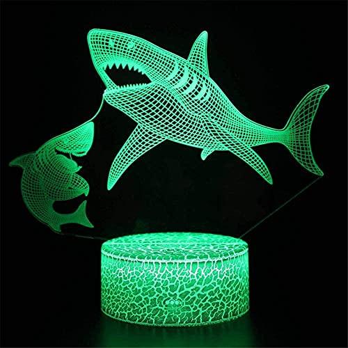 Shark LED 3D luz de noche, lámpara de noche 16 colores cambiantes de control remoto modelo de muerte creativo dormitorio decoración mejor regalo de cumpleaños genial idea para niños y hombres
