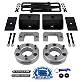 Supreme Suspensions - Full Lift Kit for 2007-2020 Silverado Sierra 1500 3.5' Front Lift Strut Spacers + 3' Rear Lift Blocks + Square Bend U-Bolts + Axle Alignment Shims (Black)
