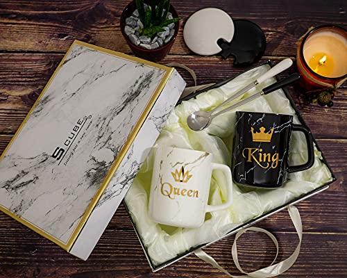 S_CUBE Kaffeetassen Marmor Tassen Set Kaffeebecher Mug Set Keramik 350ml mit Luxus Geschenkbox Paar Geschenk (King & Queen)