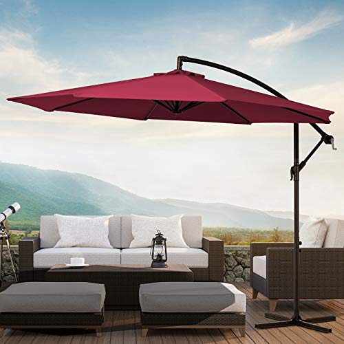 KITADIN Offset Umbrella 10Ft Cantilever Patio Hanging Umbrella Outdoor Market Umbrellas with Crank Lift & Cross Base (Red)