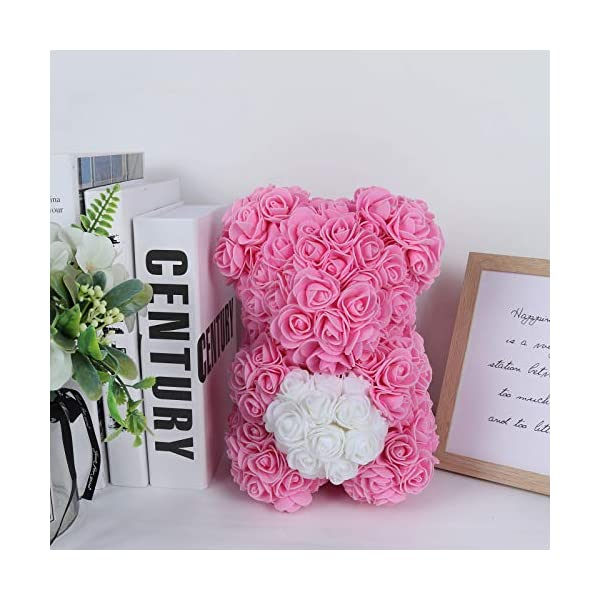 RECUTMS Rose Bear with Heart – Over 200+ Flowers on Every Rose Bear – Perfect for Anniversary's, Birthdays, Bridal Showers, Mothers, Etc. – Clear Gift Box Included! (Pink1)