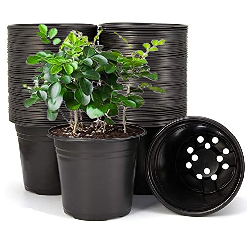 KAHEIGN 50Pcs 15cm Pots De Fleurs En Plastique Pots De Départ De Graines Légers Pots De Semis De Pépinière Conteneur De Plantes à Fleurs (15x13cm, Noir)